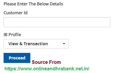Andhra Bank Online InterNet Banking Registration
