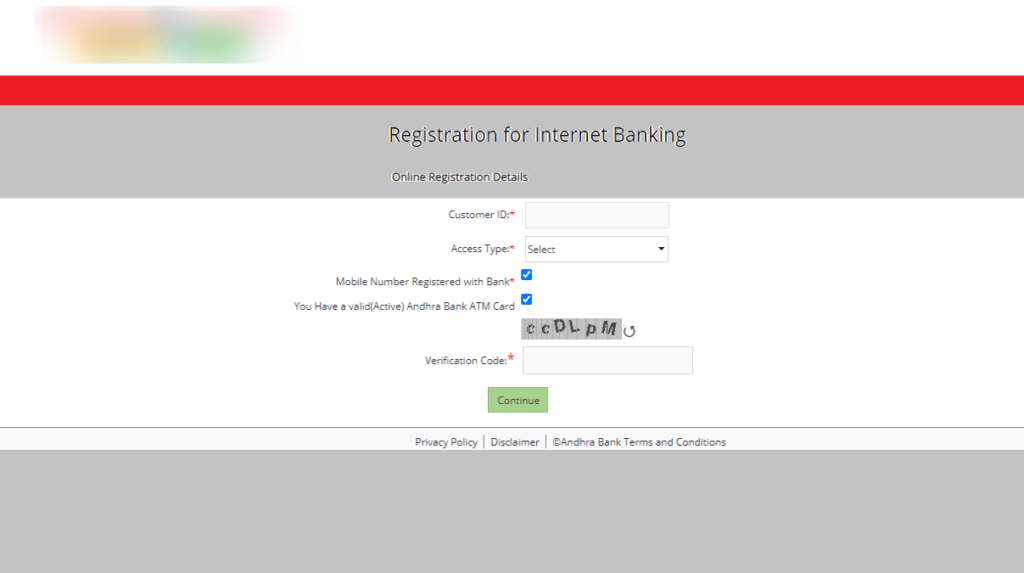 Andhra Bank Online InterNet Banking Registration