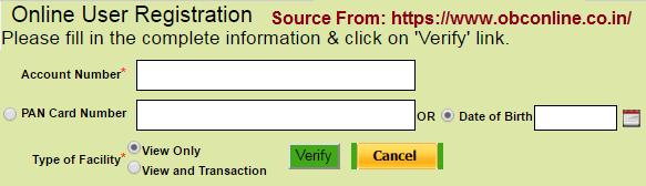 OBC Net Banking Online Registration