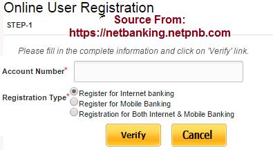 pnb online net banking registration