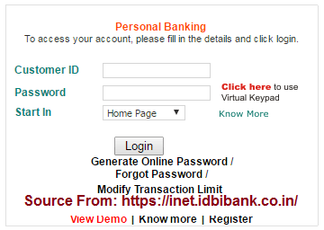 IDBI Bank Net Banking Online Registration