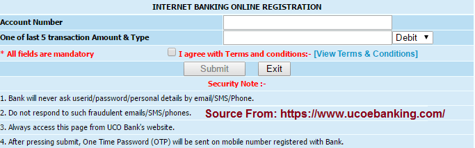 UCO Bank online net Banking registration