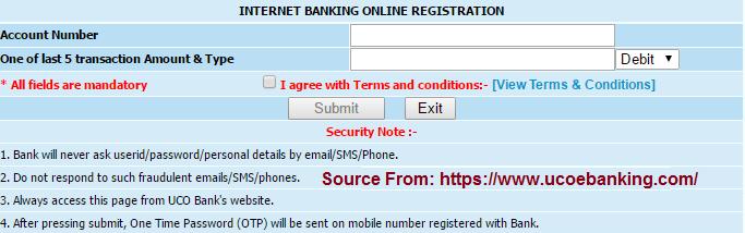 UCO Bank online net Banking registration