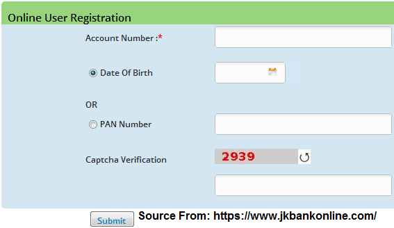 JK Bank Internet Banking Online Registration