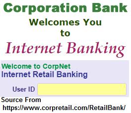 Corporation Bank Personal Net Banking Online Registration