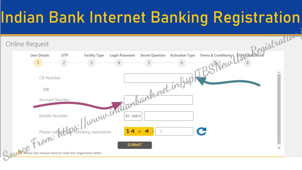 Indian Bank Online Net Banking Registration