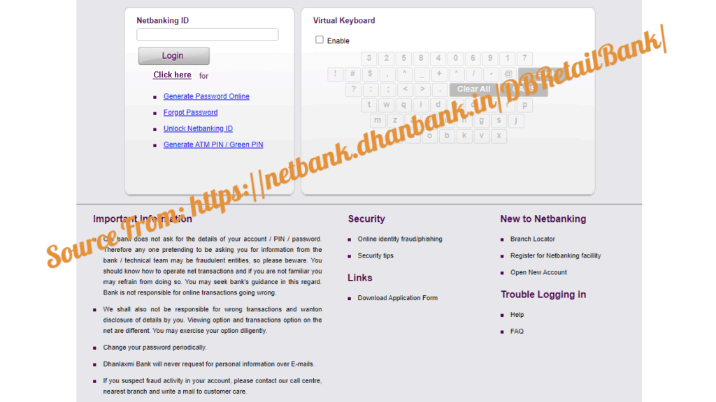 Dhanlaxmi bank Internet Banking